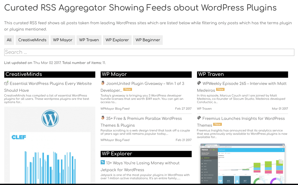 curated wp rss aggregator and feed manager plugin for wordpress