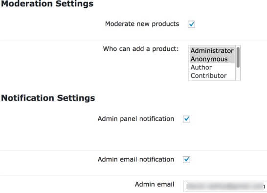 Setting screen showing part of the moderation and notification settings