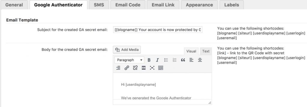 Secure login Google Authenticator settings