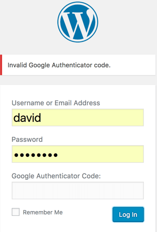 Secure Login - example when using GA authentication