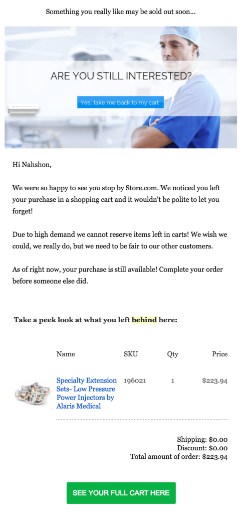 Example of sales recovery email sent