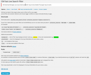 CM Fast Live Search Filter – Plugin Settings