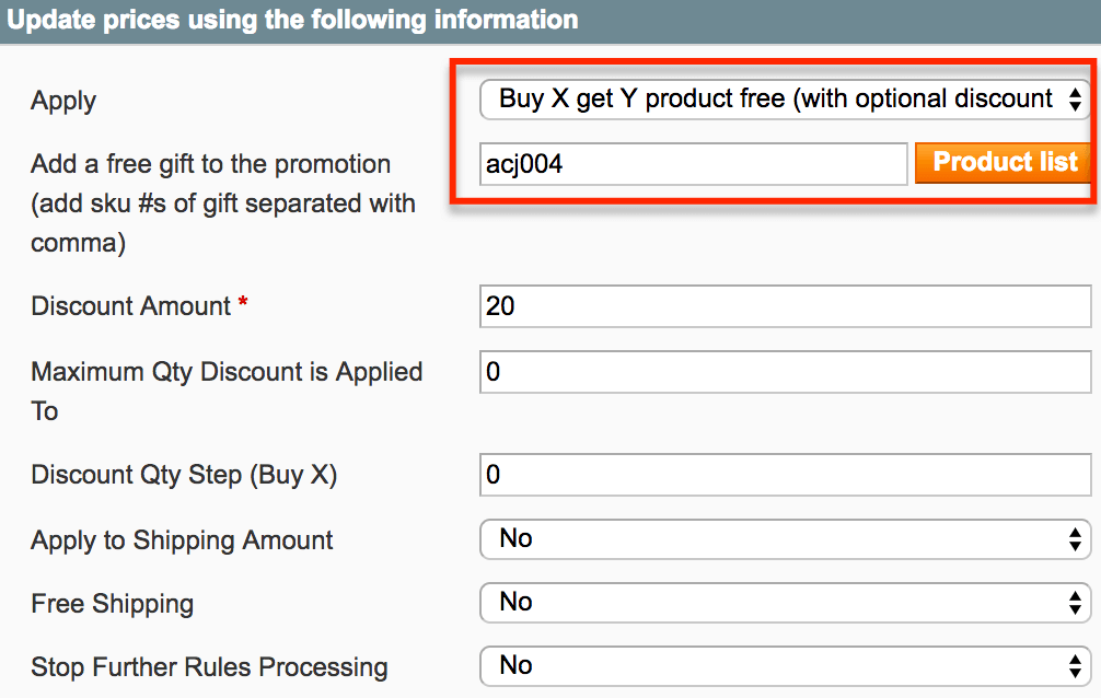 Admin rule settings for a gift item